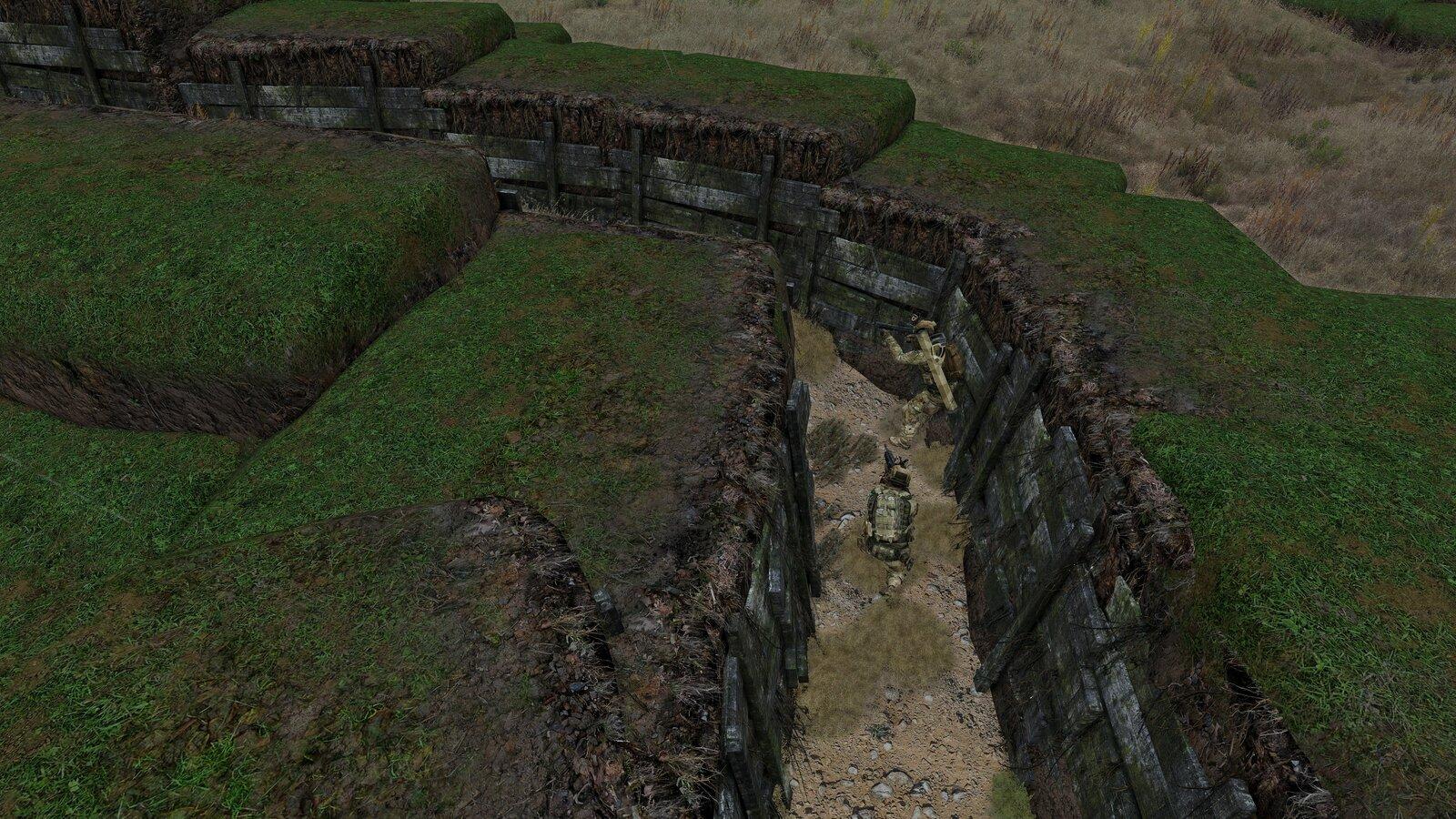 ein Sturmtrupp rollt den Graben auf