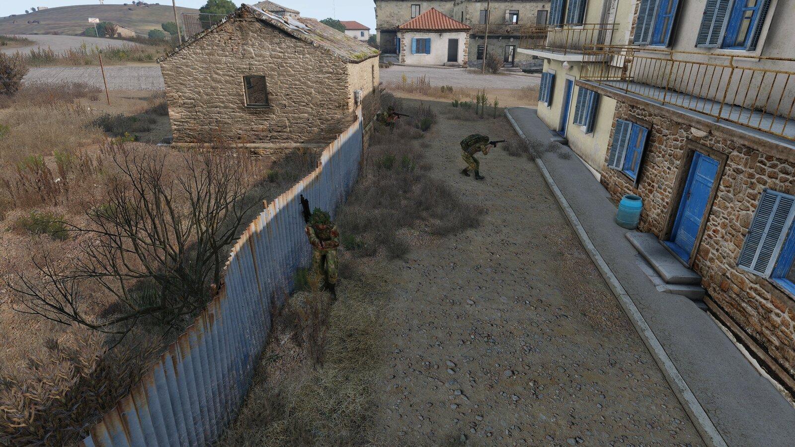 ein Sturmtrupp von A1 durchkämmt die letzten Gebäude von Paros